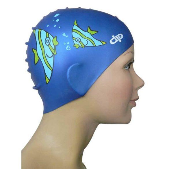 Gyermek szilikon úszósapka-Halas-kék
