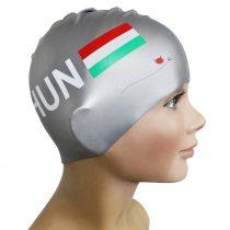 Szilikon úszósapka - HUN zászlós - Ezüst