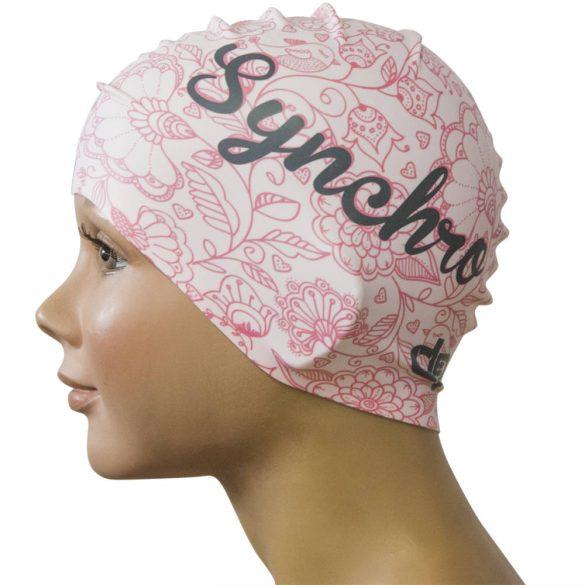 Szilikon úszósapka-virágos-rózsaszín