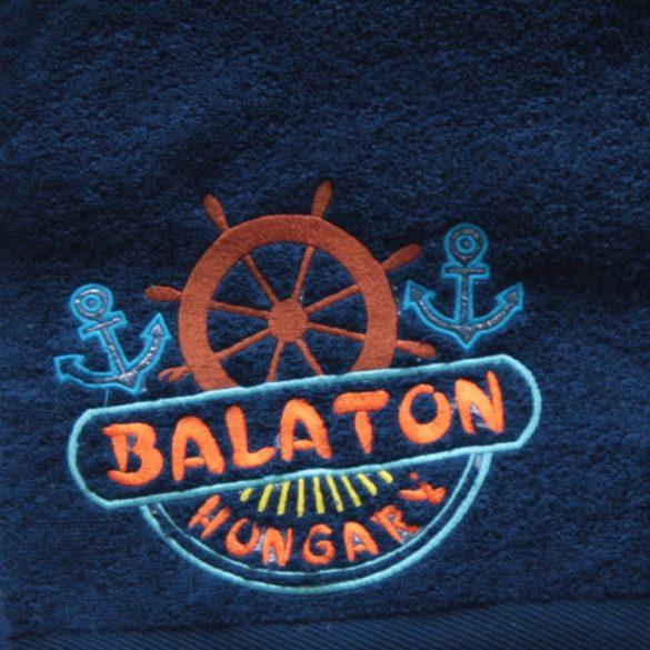 Törülköző-Balaton mintás (50x100)-sötétkék