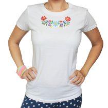 Női póló-FOLK2-hímzett-fehér