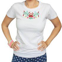 Női póló-FOLK3-hímzett-fehér
