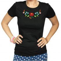 Női póló-FOLK1-hímzett-fekete