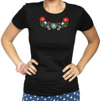Női póló-FOLK2-hímzett-fekete