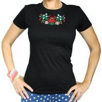 Női póló-FOLK3-hímzett-fekete