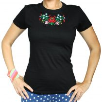 Női póló - FOLK3 - hímzett - fekete
