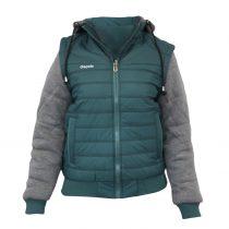 Kapucnis kabát - zöld-szürke