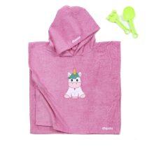 Poncho - unikornisos - pink