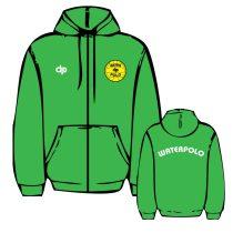 WP1 hímzett zöld cipzáras pulóver