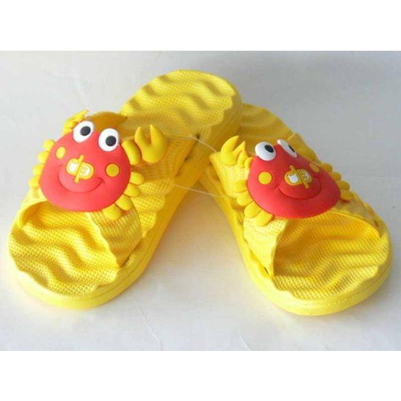 Gyermekpapucs-piros rákkal-sárga