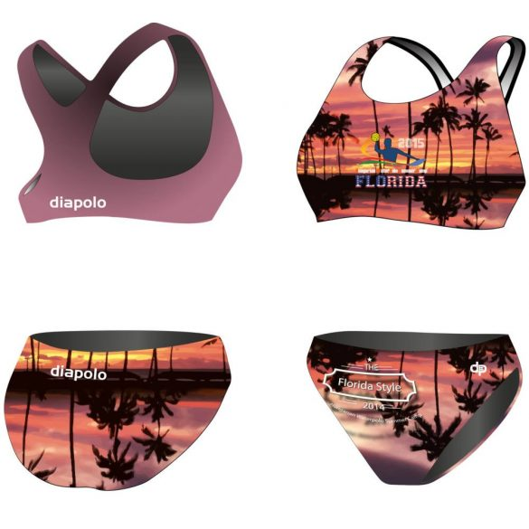 HWPSC-Női vastag pántos bikini-Florida palms