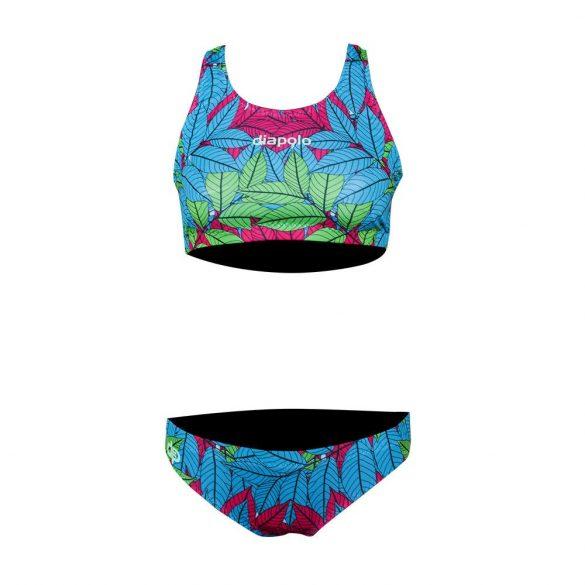 Női vastag pántos bikini-Walnut Leaf