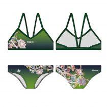 Vékony pántos bikini - Green and flowers