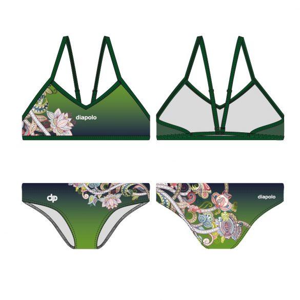 Vékony pántos bikini-Green and flowers
