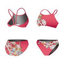 Vékony pántos bikini - Pink and flower