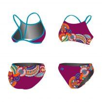 Vékony pántos bikini - Floral purple