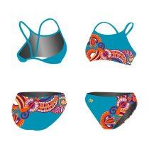 Vékony pántos bikini - Floral - kék