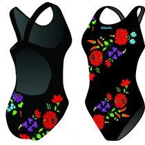 Lányka vastag pántos úszódressz - Traditional Hímzett - 1 - fekete