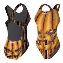 Lányka vastag pántos úszódressz-Halloween pumpkin