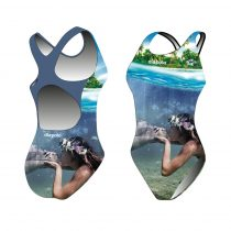 Lányka vastag pántos úszódressz-Sync mermaid kiss