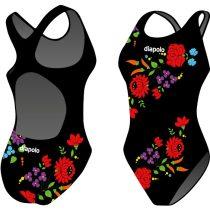 Női vastag pántos úszódressz-Traditional Hímzett-1-fekete