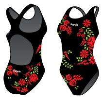 Női vastag pántos úszódressz-Traditional Hímzett-2-fekete