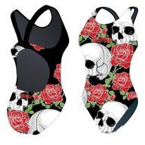 Női vastag pántos úszódressz-Skulls
