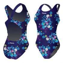 Női vastag pántos úszódressz-Blue flowers
