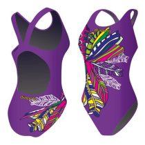 Női vastag pántos úszódressz-Feathery-lila