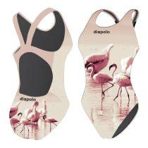 Női vastag pántos úszódressz-Flamingos
