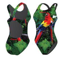 Női vastag pántos úszódressz-Parrot in the jungle