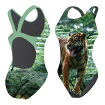 Női vastag pántos úszódressz-Tiger hunting