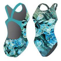 Női vastag pántos úszódressz-Blue Butterfly
