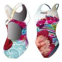 Női vastag pántos úszódressz-Classical-Colorful Flower-1