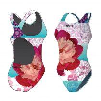 Női vastag pántos úszódressz-Classical-Colorful Flower-2