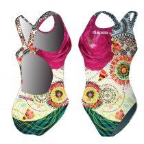 Női vastag pántos úszódressz-Classical-Colorful Flower-3