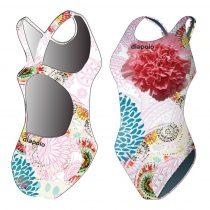 Női vastag pántos úszódressz-Classical-Colorful Flower-4