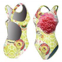 Női vastag pántos úszódressz-Classical-Colorful Flower-5
