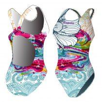 Női vastag pántos úszódressz-Classical-Colorful Flower-7