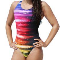 Női vastag pántos úszódressz-Rainbow Lights