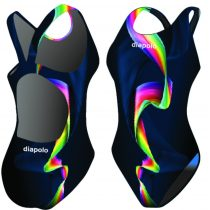 Női vastag pántos úszódressz-Rainbow Smoke
