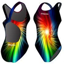 Női vastag pántos úszódressz-Rainbow Fractal