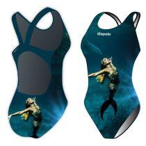 Női vastag pántos úszódressz-Sync mermaid