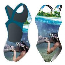 Női vastag pántos úszódressz-Sync mermaid kiss