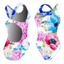 Női vastag pántos úszódressz-Painted flowers