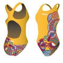 Női vastag pántos úszódressz-Floral-sárga