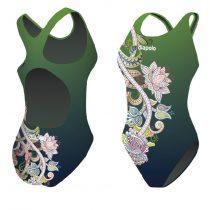 Női vastag pántos úszódressz-Green Flower