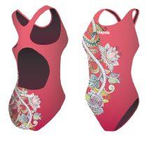 Női vastag pántos úszódressz-Pink Flower