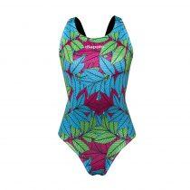 Női vastag pántos úszódressz-Walnut Leaf