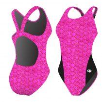Női vastag pántos úszódressz - Pink Scales - 01